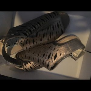 Karl Lagerfeld Shoes - Karl Lagerfield gold leather sandals, size 8